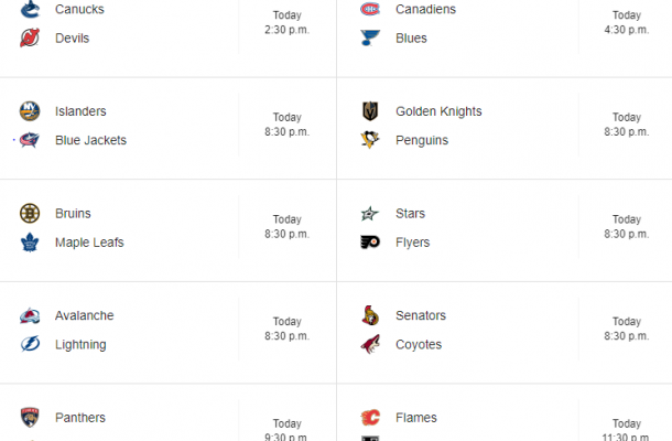 NHL Schedule October 19, 2019